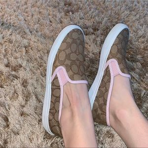 Coach Slip-ons with Pink Accent